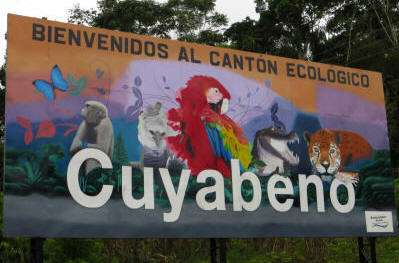 Visiting the Amazon in Ecuador: Welcome sign for Ecuador Amazon visitors