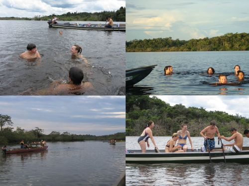 Visiting the Amazon in Ecuador: Swimming at the Cuyabeno Lake during your Amazon visit in Ecuador