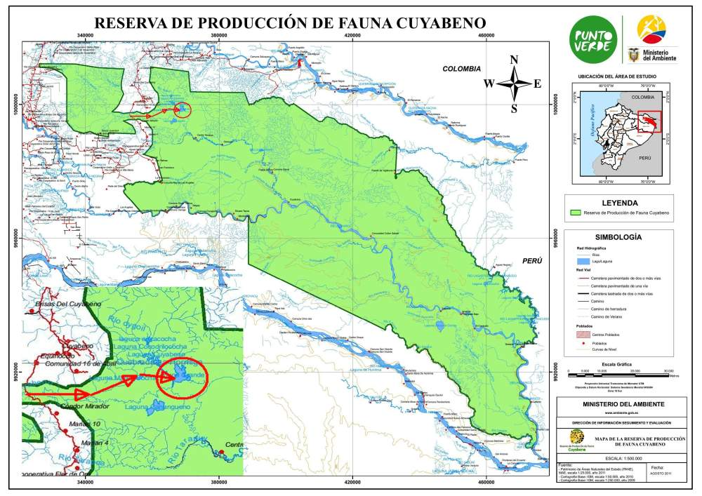 Official map of the Cuyabeno Wildlife Reserve.