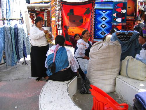 Otavalo Indian women in traditional dress