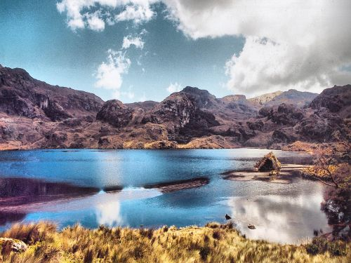 Paramo lake seen during Andes treks in Ecuador.