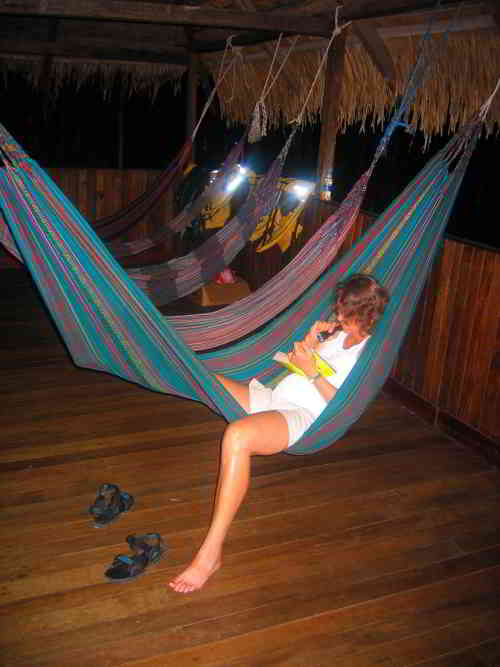 Visiting the Amazon in Ecuador: Relaxation after visiting the Amazon in Ecuador.