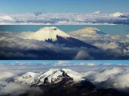 Climate of Ecuador: Volcanoes visible simultaniously during the Andes dry season.