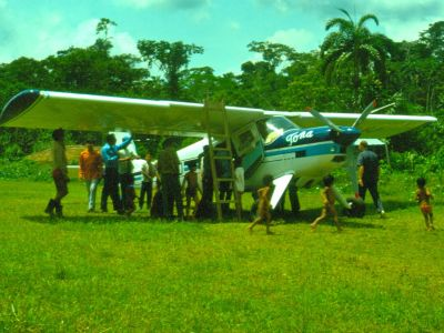 AMAZON RIVER HISTORY & INTERESTING FACTS [ECUADOR]: Amazon huarani airstrip. FAO natural areas exploration, 1975 slide scan