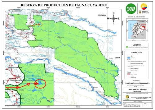 Visiting the Amazon in Ecuador: Detailed map Cuyabeno Wildlife Reserve.