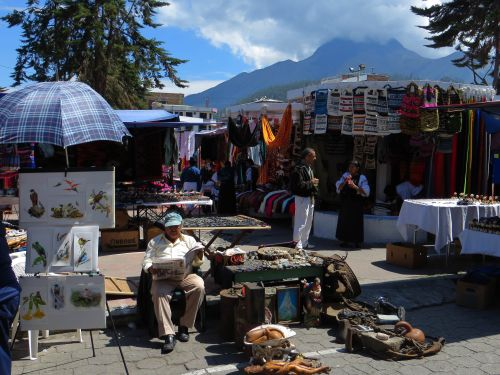 Antiques and paitings at Plaza de los Ponchos, Otavalo art market, Ecuador