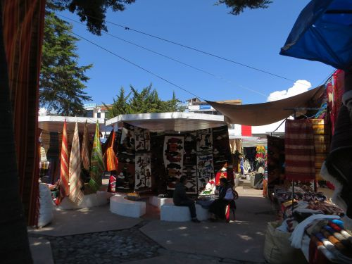 Otavalo Indian Market: Otavalo, Plaza de los Ponchos: Concrete stalls built by Netherlands Development Cooperation