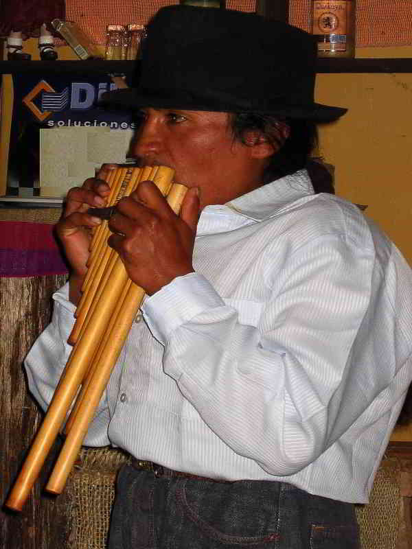 Otavalo Indian Market: Andes Indian with Pan flute