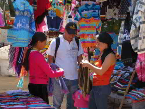 Otavalo Indian Market: shopping at Plaza de los Ponchos, Otavalo, Ecuador