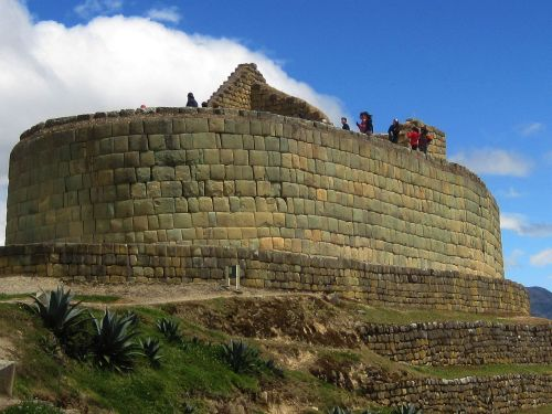 TOP 10 FAMOUS PLACES TO VISIT IN ECUADOR: Temple of the Sun with Inca wall at Ingapirca