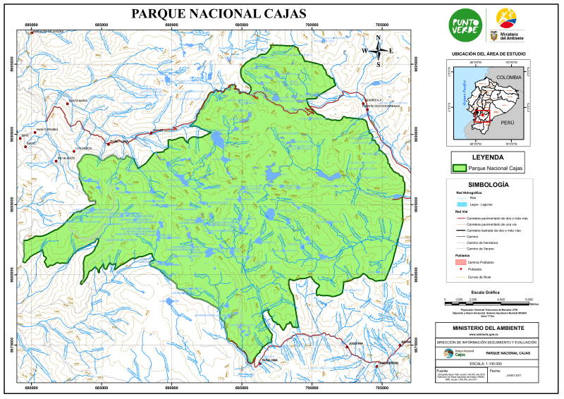 Carte du Parc National Cajas, Équateur